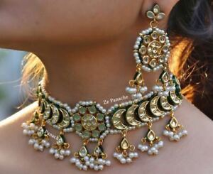 Indian Bollywood Pearl Choker Necklace Earring Women Wedding Kundan Jewelry