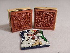 Holiday Rubber Stamps - Lot of 2 - Wood  Mounted - Snowman Snow Flake