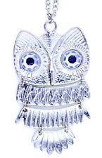 Vintage retro style silver owl charm necklace