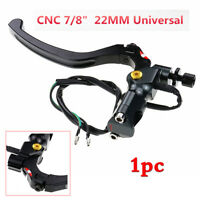 CNC Black Motorcycle Clutch Lever Perch Brake Lever w/Switch For 22mm Handlebar