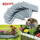 40X Stone Effect Plastic Border Fence Yard Lawn Garden Edging Plant Flowe