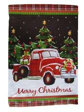 "12x18 12""x18"" Merry Christmas Snow Truck Holidays Vertical Sleeve Flag Garden"
