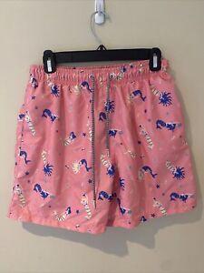Boardies Men's swim trunks, pink with mermaids, size medium