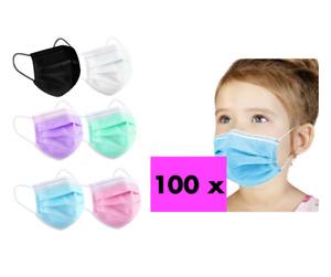 100x Masken Kinder Mund-Nasen-Schutz 3-lagig Mundschutz Gesichtsmaske Blau OP CE