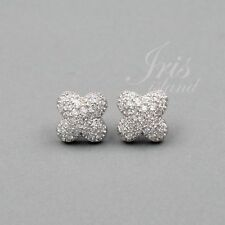 Cubic Zirconia Flower 925 Sterling Silver Stud Earrings With Micro Pave 03046