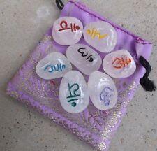 Set of 7 quartz tumble chakra stones ~ engraved sanskrit symbols ~ with pouch
