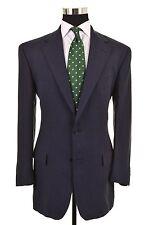 Ralph Lauren Script Solid Navy Blue 100% LINEN 2pc Suit Jacket Pants 40 L