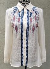 Johnny Was 4 LOVE & LIBERTY Sheer Silk Indian Feather Embroidered Button Shirt S