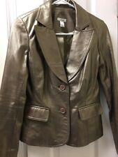 CACHE Women's 100% Leather Gold Lined Jacket Coat Sz 0 Zipper Long Sleeves $398