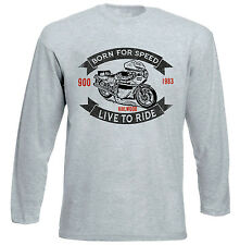 DUCATI 900 MIKE HAILWOOD 1 - GREY LONG SLEEVED TSHIRT- ALL SIZES IN STOCK