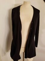 Theory Cardigan Sweater Womens Sz M Cotton Cashmere Button Front Black