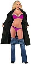 Funny Adult Female Flasher Costume Black Trench Coat Party Women's Bikini Shirt