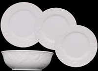 Mikasa English Country Side White DP900 Stoneware Dinnerware Set of 4