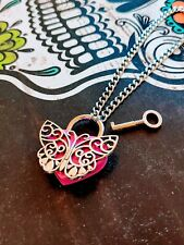 Valentine Butterfly Hot Pink Heart Lock Necklace Day Collar Stainless Steel Sub