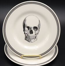 Royal Stafford Victorian English Pottery 2 SALAD PLATES Halloween Skull Head NEW