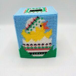 Easter Chicken Tissue Box Cover Topper Handmade Yarn Stich  Plastic Canvas