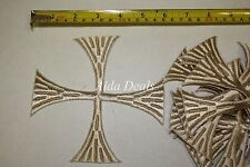 "(12 pcs) Iron Embroidered Religious Patch Brown Cross 5""1/2x5""1/2(Design #0016)"