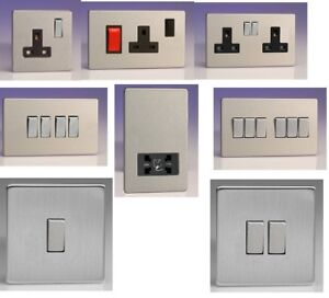 Flat Plate Screwless Switches & Sockets Brushed Stainless Steel Uk Black Insert