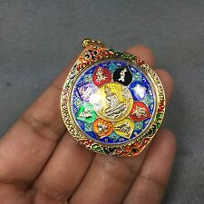 BIG Zodiac Phra LP Sothorn Enamel Coin Thai Amulet Pendant Charm Talisman Lotus