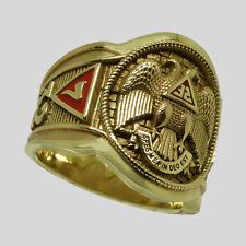 Scottish Rite Masonic Ring 10K Solid Yellow Gold Freemason Mens Size 10 UNIQABLE