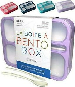 Bento Lunch-Box for Girls Women in Purple, 6 Compartment Leakproof School