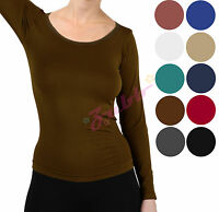 Women Long Sleeve Round Neck Stretch Solid Basic Seamless Stretch Top tee Shirt