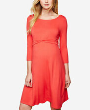 Motherhood Maternity Pregnancy Twist Front A Line Dress Coral Size Small NEW NWT