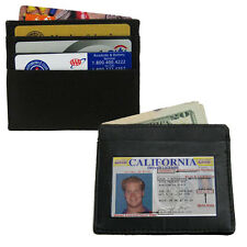 BLACK COWHIDE LEATHER MEN's THIN Credit Card ID Window Money Wallet Holder New!