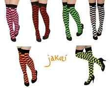 NEW LADIES CHECKED OVER THE KNEE THIGH HIGH STRIPEY SOCKS, SOX FANCY DRESS POP