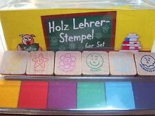 Lehrerstempel Holzstempel 6 Stück Holz Leherstempel Trendhaus