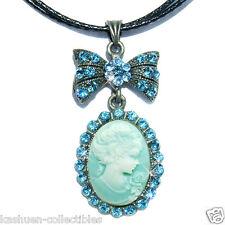 w Swarovski Crystal ~Blue CAMEO Princess Queen bow Bridal Charm Pendant Necklace