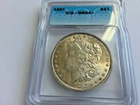 1887 Morgan Silver Dollar ICG MS64+ Beautiful Coin Nice Rainbow Toning