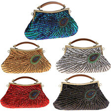 Peacock Style Vintage Handbags Womens Evening Bags Clutches Sequins Purse Wallet