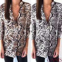 Women Animal Print Blouse Long Sleeve Fashion Ladies T-Shirt Oversize Loose Top