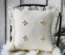 Rústico Cushion Covers, Boho, Lino Cojines, Cojines, Sofá Decoración Blanco Crema,