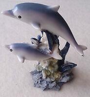 Deko-Figur Delfin Mehrfarbig 9 cm Kunststein 2 Delfine auf Korallenriff