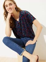 New Loft Womans Floral Velvet V Neck Sz Large Top Soft Multi Color Stretch NWT