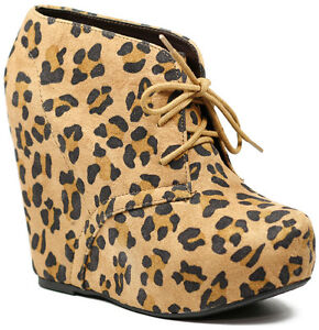 Tan Black Leopard Faux Suede Lace Up Platform Wedge Ankle Bootie Boot 5.5 us
