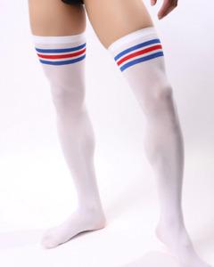Mens One Size Sexy Nylon Long Stripe Tube Socks Stockings Lingerie Fetish Gay UK