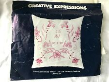 Vintage Creative Expressions Anniversary Pillow Crewel Kit Pink White Floral