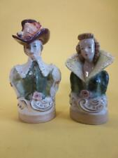 Vintage Cordey Porcelain Bust Figurine Couple Woman & Man with Hat
