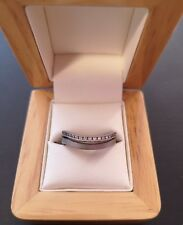 Very unusual 18ct grey gold and genuine diamonds double ring - size L - REDUCED