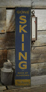 Gone Skiing Vertical Rustic Distressed Sign, Personalized Wood Sign