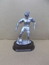 Female Soccer statue trophy resin silver red oval base Rf 1126 Sg
