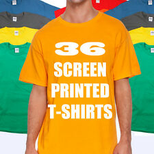 36 CUSTOM T-SHIRTS  ONE COLOR INK 100% COTTON TEE MIXED COLORS AND SIZES