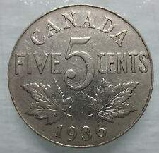 1936 CANADA 5¢ KING GEORGE V NICKEL COIN