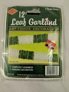 Beistle 12' Leaf Garland Art Tissue Decoration Green White 1989