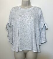 Altard State Small Top Light Gray 3/4 Bell Sleeve Relaxed Fit Boho Top