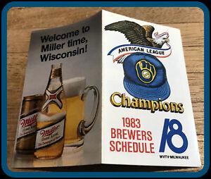 1983 MILWAUKEE BREWERS MILLER AMERICAN LEAGUE CHAMPIONS BASEBALL POCKET SCHEDULE