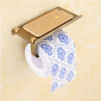 Wall Mount Bathroom Toilet Paper Holder With Phone Storage Shelf Black Towel L